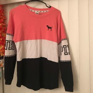 PINK Victoria's Secret tri-colored long sleeve